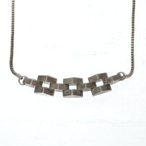 Vintage 60's Retro MCM Chunky Silver Necklace